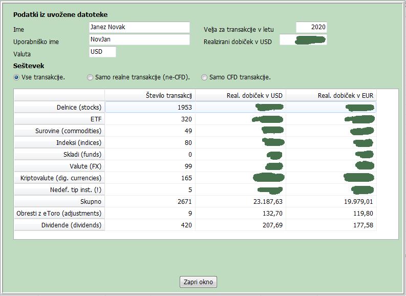kontrolni seštevek uvoženih podatkov z eToro